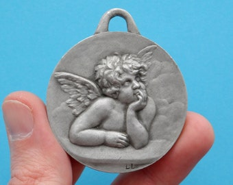 "French, Antique Religious Large Pendant. Catholicism. Cherub, Cherubin, Putti, Baby. ""Raphael"". Medal. 180314 5"