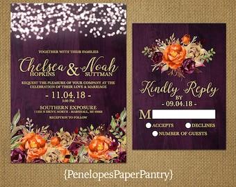 Romantic Plum Fall Wedding Invitation,Purple,Gold,Orange,Gold Print,Barn Wood,Fairy Lights,Rustic,Shimmery,Printed Invitation,Wedding Set