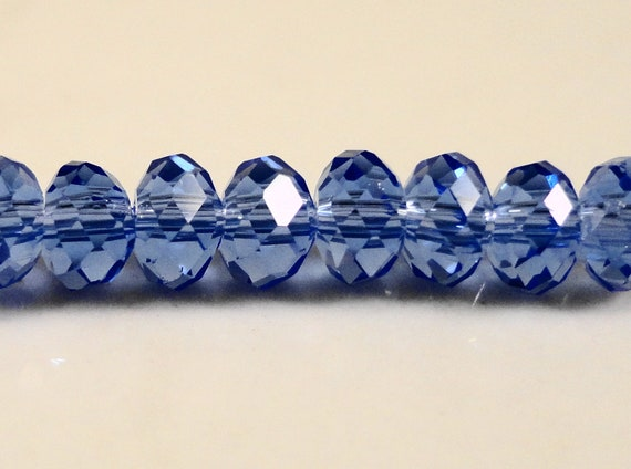Blue Rondelle Crystal Beads 4x3mm (3x4mm)  Medium Periwinkle Blue Small Faceted Chinese Crystal Glass Beads 100 Loose Beads per Pack