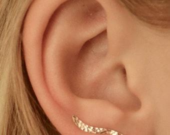 Mini Wave - Ear Climber - Ear Cuff - Ear Climbers - Ear Crawler - Pin Ear - Minimalist Earrings - Ear Wrap - Rose Gold Ear Climber -