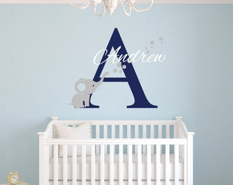 Name Wall Decal - Elephant Wall Decal - Nursery Baby Room Decor - Elephant Bubbles Decal - Nursery Wall Decals Vinyl