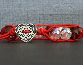 valentine jewlery - heart bracelet - red pink purple crystal on red leather wrap bracelet - bohemian gypsy  glam