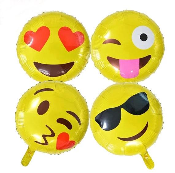 Balloons 18 Inch Emoji Balloon Face Cool Love Wink Joy