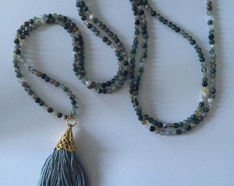 Shades of Green and Wrap Tassel Wrap Necklace