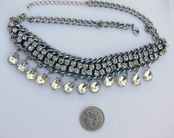 gothic rhinestone  necklace with dangling stones