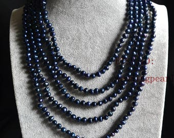 Dyed deep blue black pearl necklaces,pearl long necklaces,wedding necklace,100 inch 6 mm freshwater pearl necklaces,bridesmaid necklace