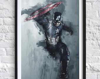 Avengers - Captain America 'Watercolor' A4 Print