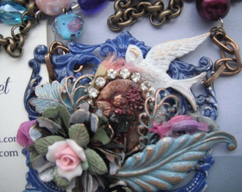 Blue Floral Necklace ,Assemblage  jewelry ,One of a kind necklace , Signed by Artis, can be personalized