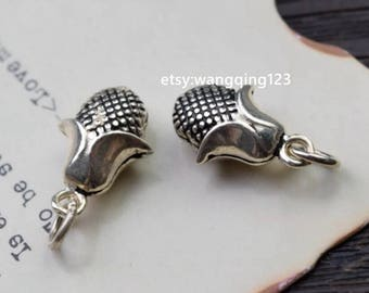 2 pcs corn charms pendants in oxidized 925 sterling silver, P1