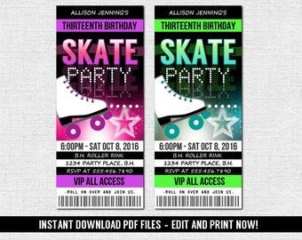 Skate Ticket Invitations - Roller Skating Birthday Party - (Instant Download) Editable and Printable PDF Files - Neon Glow Style