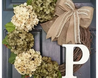 SPRING Wreath with Cream and Sage Green Hydrangeas, Monogram Wreath, Door Wreath, Hydrangea Wreath