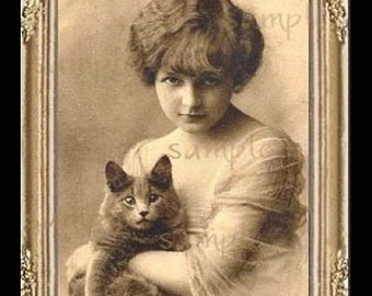 Vintage Lady With Cat Miniature Dollhouse Art Picture 1042