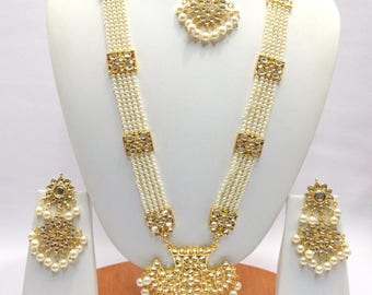 Handmade Indian Jewelry Rani haar Necklace Set With Pearl imitation,Czech , Gold Plated indian Bollywood Jewelry