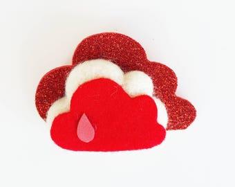 Handmade brooch with felt cloud. RED