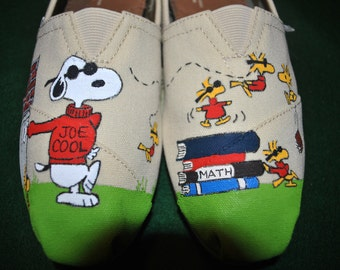 Custom Hand Painted snoopy slip ons  Cool Joe on Toms    sorry sold