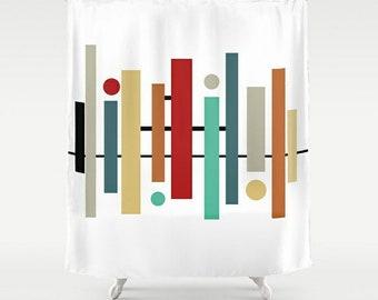 Shower Curtain, Retro Shower Curtain, Art Shower Curtain, Retro Bathroom,  Abstract Art