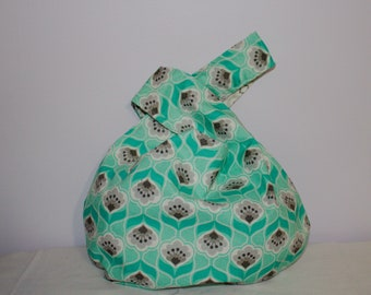 Japanese Knot Bag/Knitting bag  Turquoise and gray print