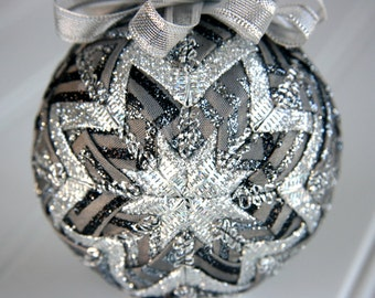 Quilted Christmas Ornament Ball/Gray and Silver - Smoke and Mirrors