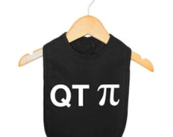 QT Pi baby bib, funny baby bib, math babe bib, nerdy baby bibs, newborn bib