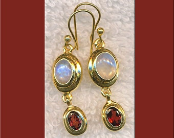 Garnet and Rainbow Moonstone Earrings, Gold Vermeil Garnet Earrings, Gold Moonstone Earrings, Moonstone Jewelry, Garnet Jewelry - SE-GSP105