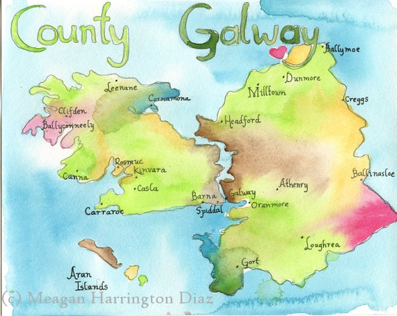 Map Art Ireland Map County Galway Ireland LARGE 13x19