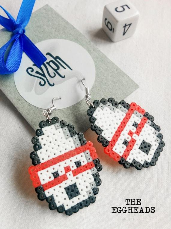 Nerdy Eggheads, geeky Easter themed earrings made of Hama Mini Perler Beads in black and white