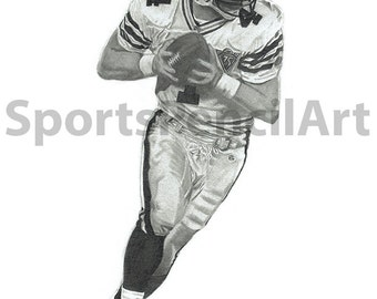 "Brett Favre Pencil Art Print With 11""x14"" Mat Frame"