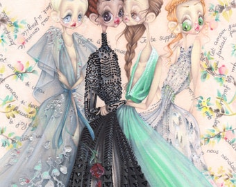 Valentino pop surrealism antiquity fashion illustration art print
