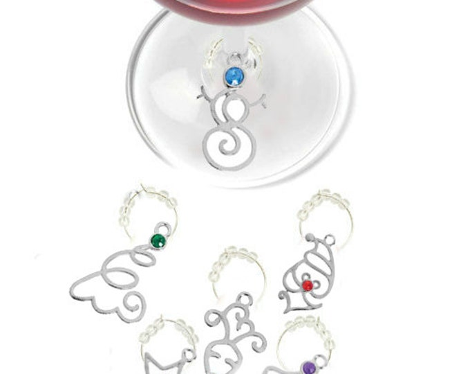 Christmas Wine Glass Charms Silver w/color stones - Pack Of 6