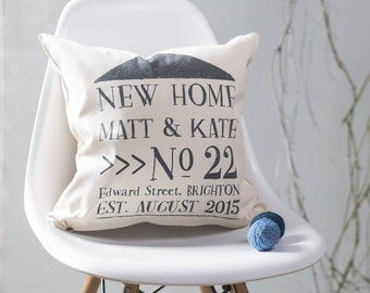 Personalised New Home Cushion Pillow