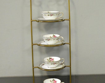 4 Tier Metal Teacup \u0026 Saucer Display Stand - Gold Powder Coat - Made In USA & Metal display   Etsy