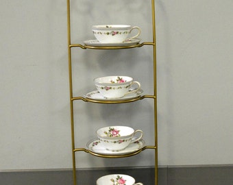 4 Tier Metal Teacup & Saucer Display Stand - Gold Powder Coat - Made In USA