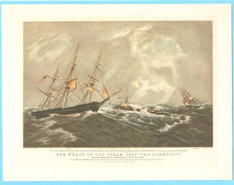 The wreck of the Steamship San Francisco book illustration.