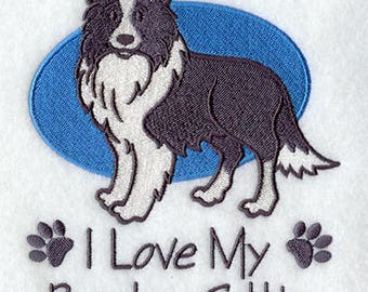I Love my Border Collie Embroidered Terry Bathroom  Hand Towel -- You Pick the Color -- Free Shipping