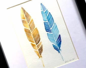 Framed Feather Watercolor Original Art, Two Feathers Watercolor Paintings, Original Feather Art, Gold Brown Blue Feathers Original Art