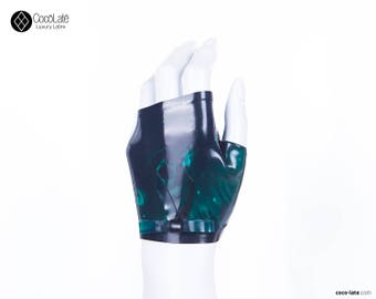 Marble Fingerless Wrist Gloves With Bow