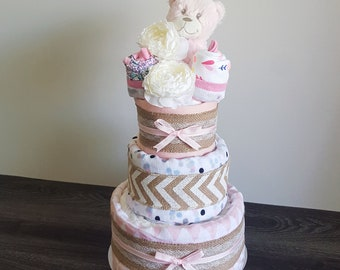 Starry Nights Bear: baby GIRL nappy cake