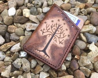 Leather Hand made Card Holder Minimal Wallet Lord Of the Rings Tree Of Gondor