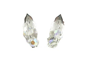 Vintage Leaf Earrings, Faceted Glass Beads, Aurora Borealis, Clip Ons