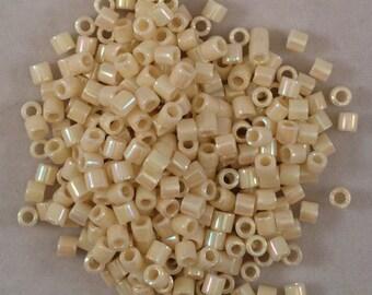 Miyuki Delica Beads, 8/o, Opaque Cream AB, DBL-0157-50, 5 Grams, Japanese Glass