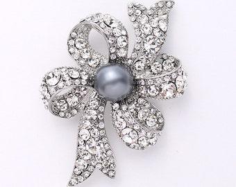 Pearl Rhinestone Brooch, Gray Brooch, Wedding Brooch, Bridal Brooch, Bouquet Brooches, Gray Brooches Wedding Crafts, Bouquet Brooches