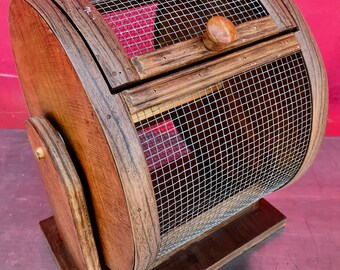 Handcrafted Vintage Wood and Metal Screen Raffle Drawing Bingo Barrel with Spring-Loaded Door