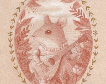 Mouse Drawing Mandolin Guitar Music Pencil Original Art