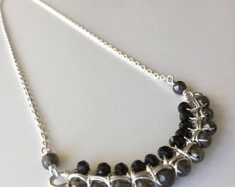 Pyrite n Black Spinel sterling necklace- Handmade, semiprecious,
