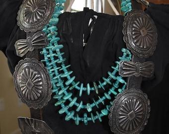 "Huge Exquisite Old Early Fred Harvey Era Navajo Ingot Silver Concho Belt 559 Grams 3 1/2"" Conchos"