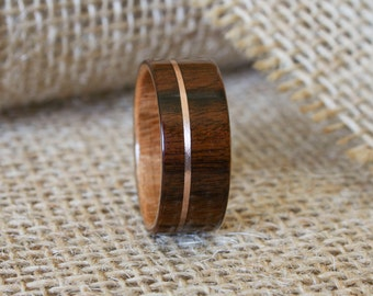 Men's Wooden Wedding Band with 14k Rose Gold Inlay in Cross-Grain Santos Rosewood with Curly Cherry Lining-Hand Crafted Wooden Ring