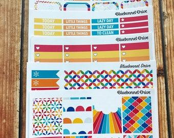OVER THE RAINBOW Sticker Kit, Vertical Sticker Kit, Sized for Erin Condren Life Planner