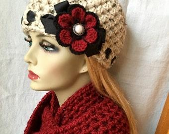 Winter Fashion Crochet Womens Hat Scarf Set, Oatmeal, Beanie, Soft Chunky Wool, Flower, Ribbon, Warm, Teens, Ski Hat, JE808B3Set