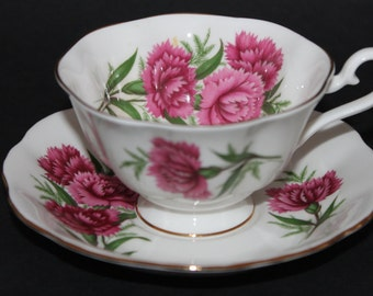 "ROYAL ALBERT Bone China Teacup and Saucer Set ""Carnation"""