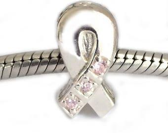 Breast Cancer Ribbon Charm European Bead Pink Cubic Zirconia